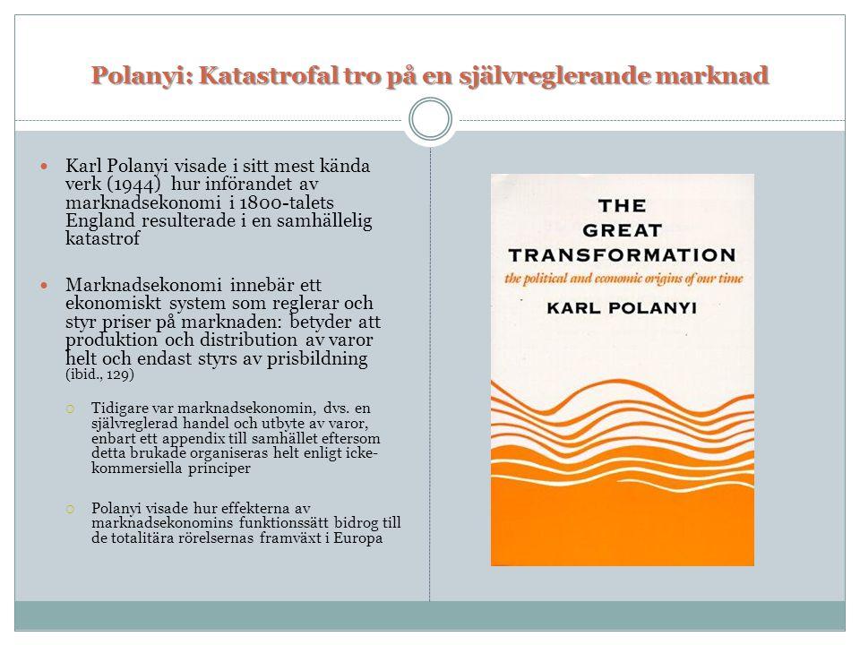 Polanyi: Katastrofal tro på en självreglerande marknad