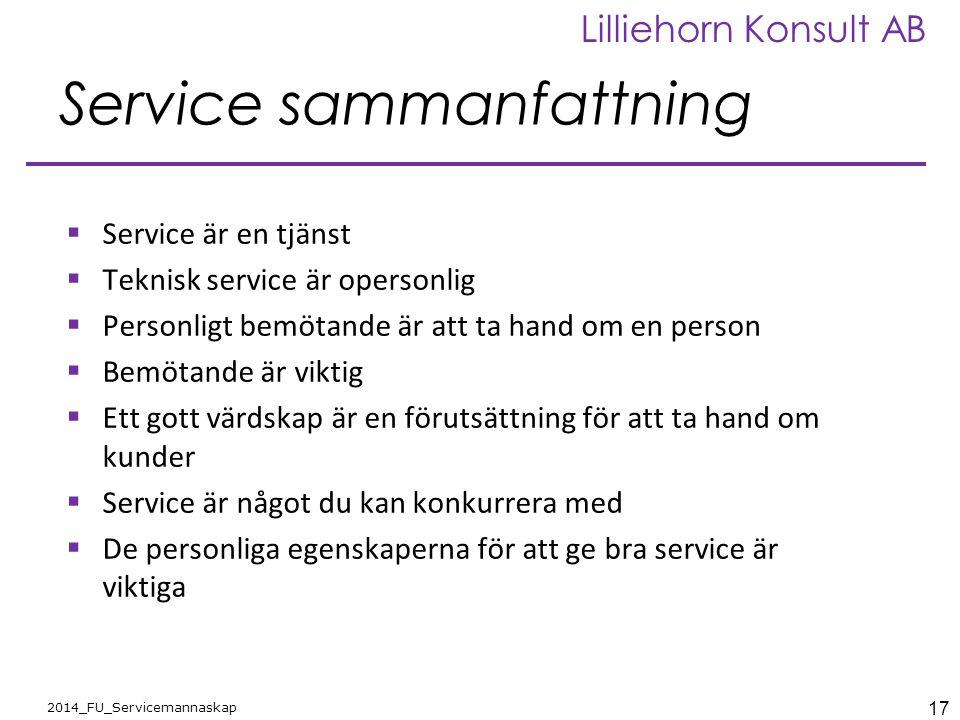Service sammanfattning