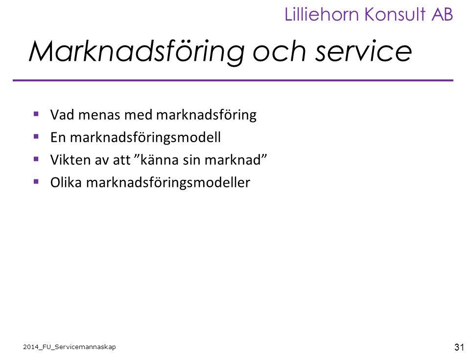 Marknadsföring och service