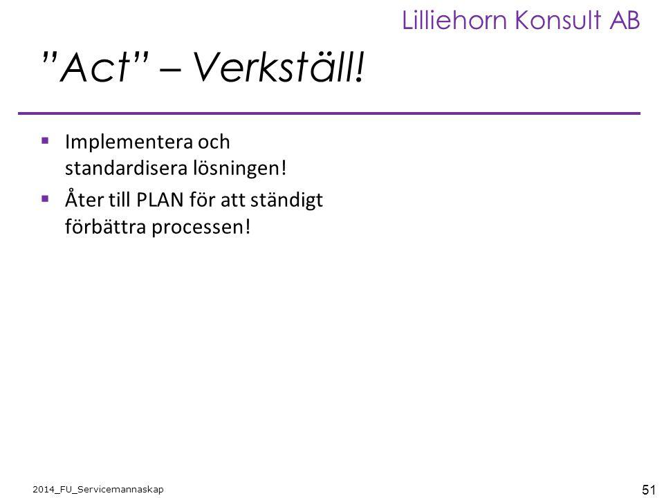 Act – Verkställ! Implementera och standardisera lösningen!