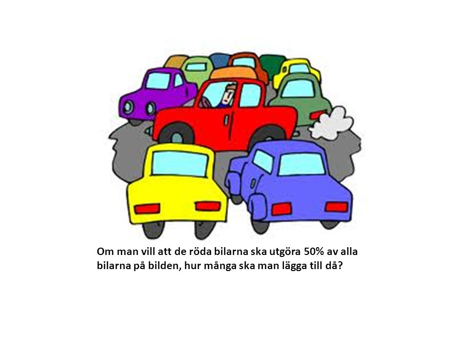 Om man vill att de röda bilarna ska utgöra 50% av alla bilarna på bilden, hur många ska man lägga till då