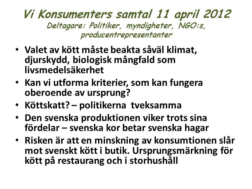 Vi Konsumenters samtal 11 april 2012 Deltagare: Politiker, myndigheter, NGO:s, producentrepresentanter