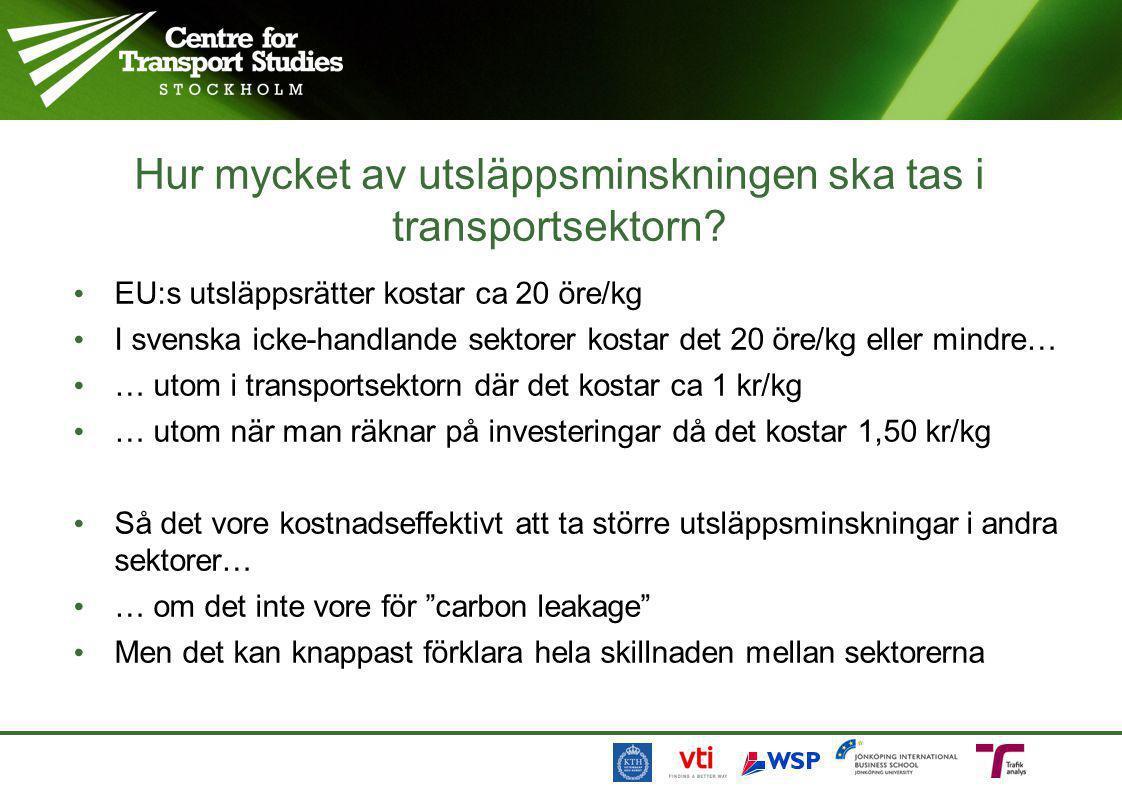 Hur mycket av utsläppsminskningen ska tas i transportsektorn