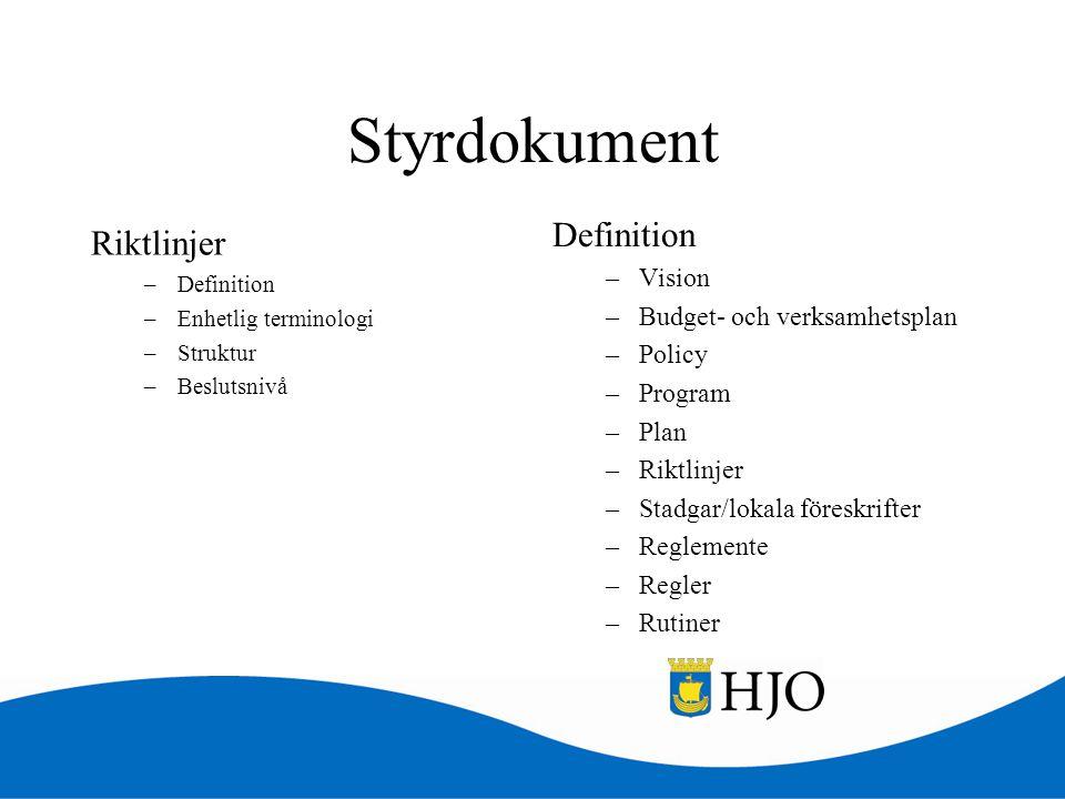 Styrdokument Definition Riktlinjer Vision Budget- och verksamhetsplan