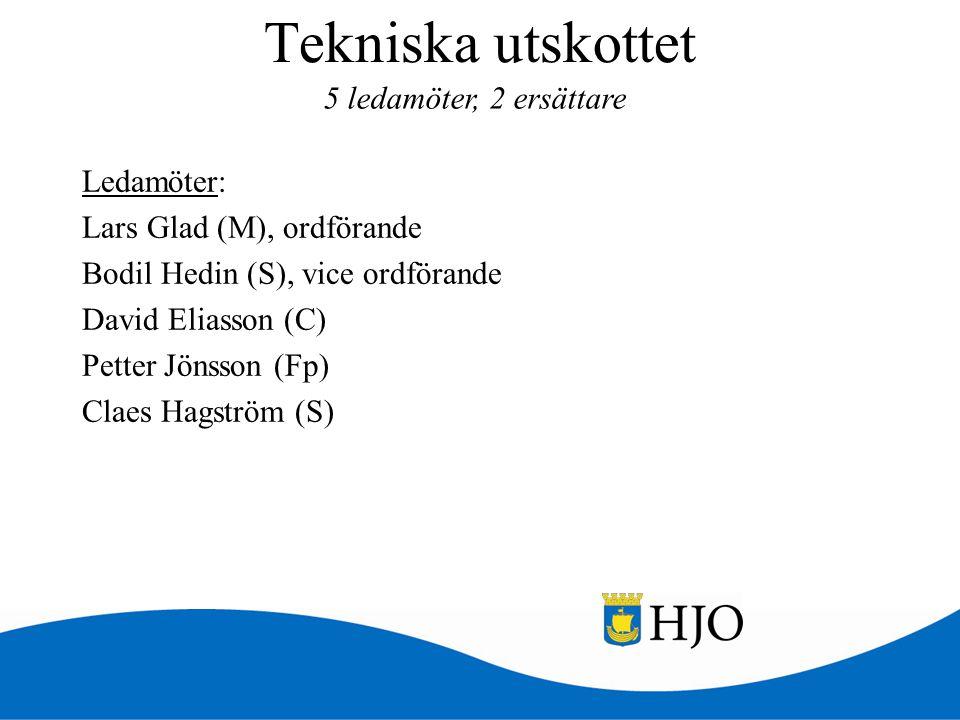 Tekniska utskottet 5 ledamöter, 2 ersättare
