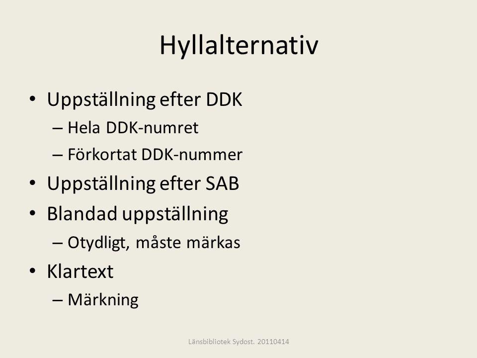 Hyllalternativ Uppställning efter DDK Uppställning efter SAB