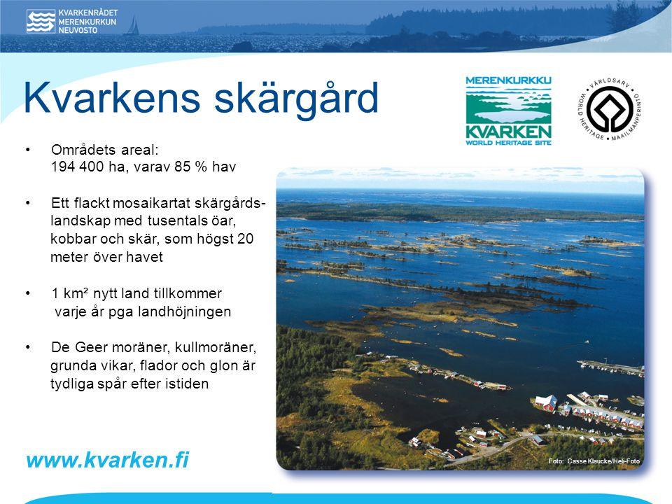 Kvarkens skärgård www.kvarken.fi • Områdets areal: