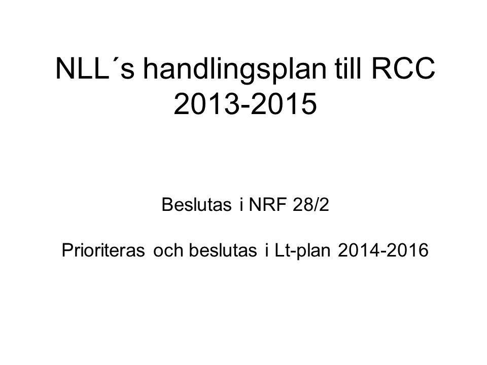 NLL´s handlingsplan till RCC 2013-2015 Beslutas i NRF 28/2 Prioriteras och beslutas i Lt-plan 2014-2016