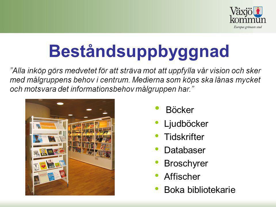 Beståndsuppbyggnad Böcker Ljudböcker Tidskrifter Databaser Broschyrer