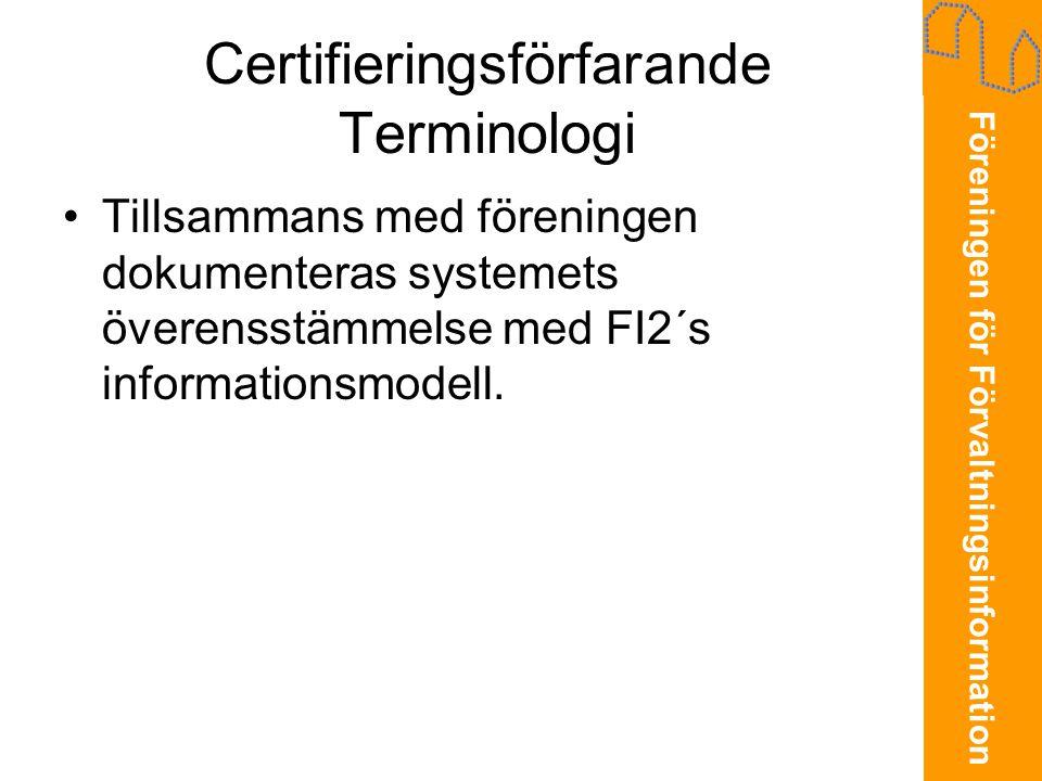 Certifieringsförfarande Terminologi