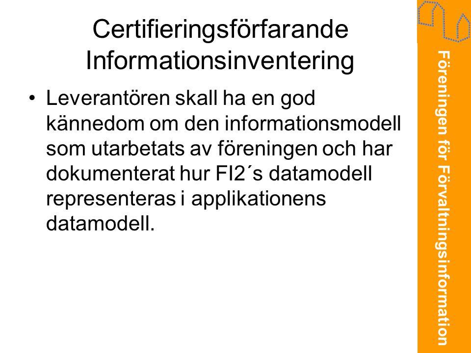 Certifieringsförfarande Informationsinventering