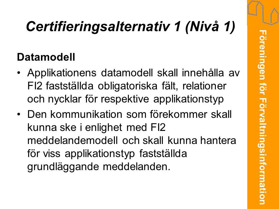 Certifieringsalternativ 1 (Nivå 1)