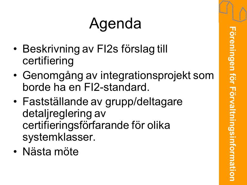 Agenda Beskrivning av FI2s förslag till certifiering