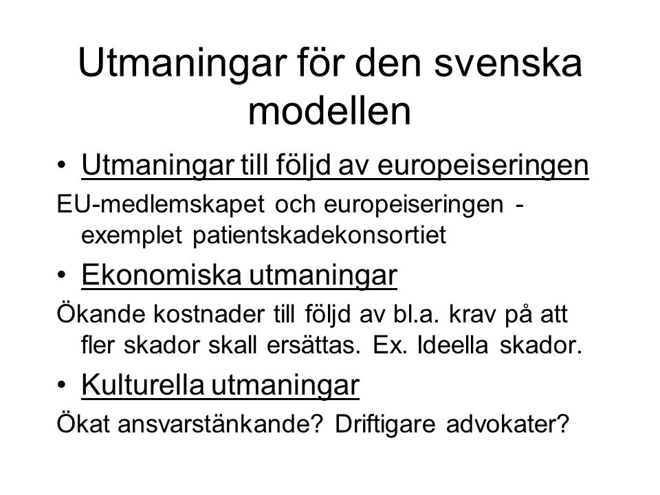 Utmaningar för den svenska modellen