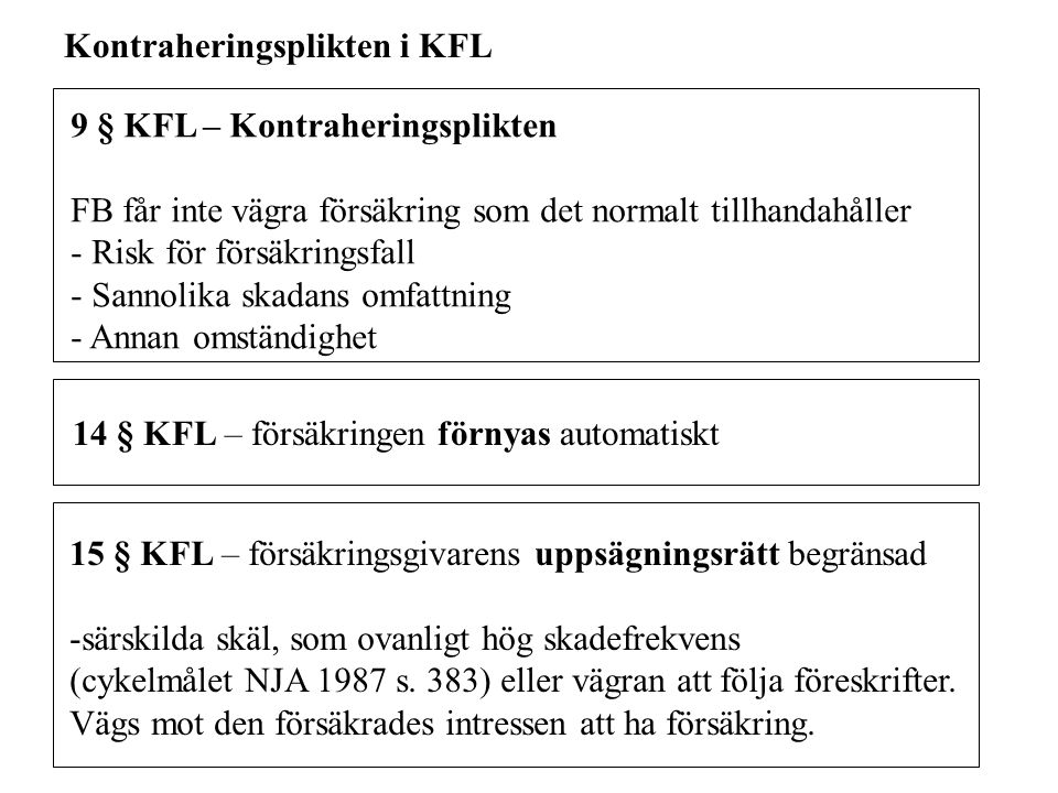 Kontraheringsplikten i KFL