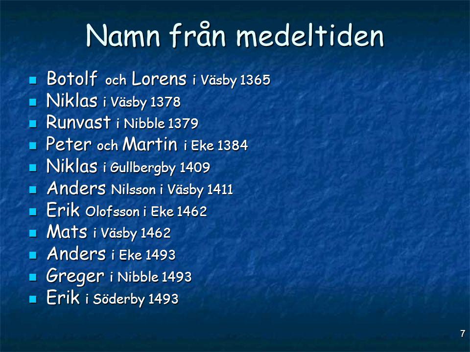 Namn från medeltiden Botolf och Lorens i Väsby 1365