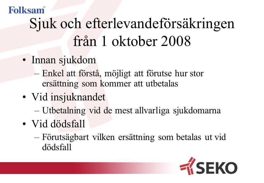 Sjuk och efterlevandeförsäkringen från 1 oktober 2008