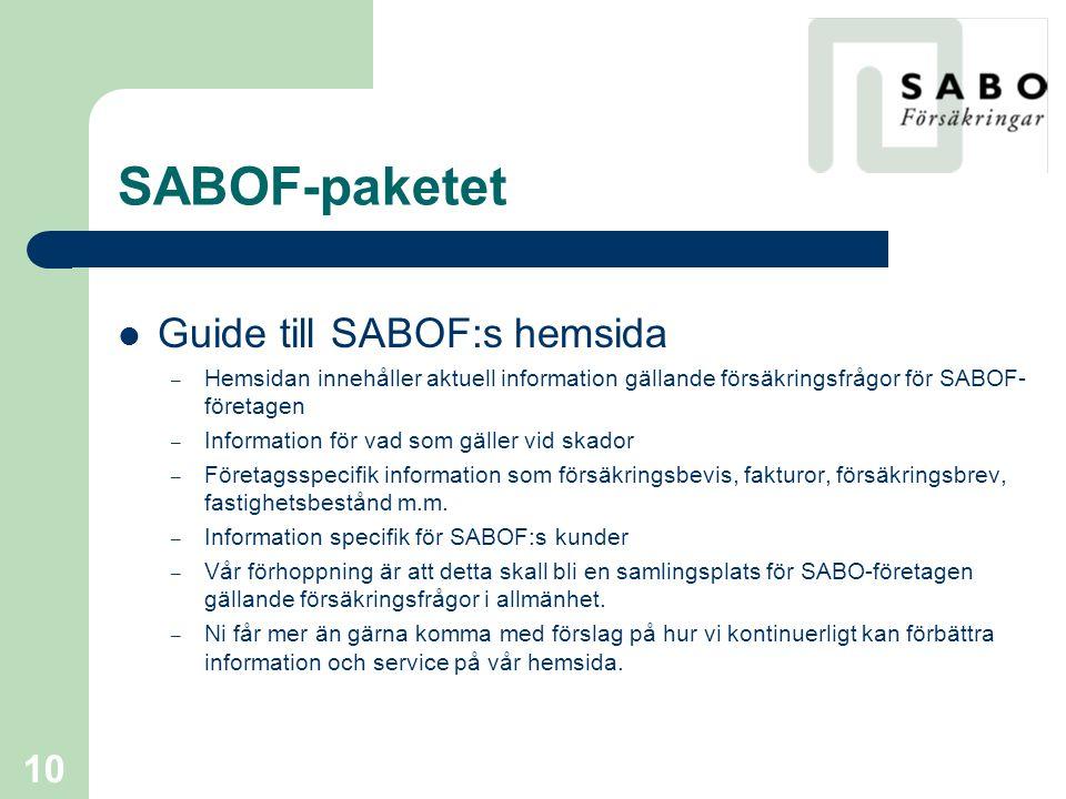 SABOF-paketet Guide till SABOF:s hemsida