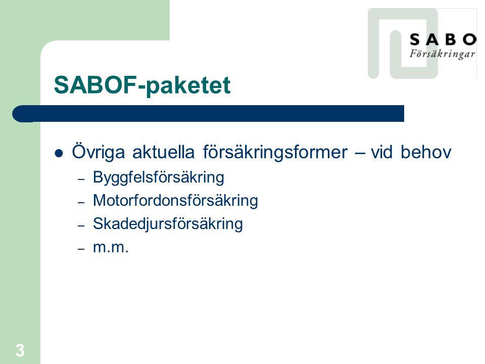 SABOF-paketet Övriga aktuella försäkringsformer – vid behov