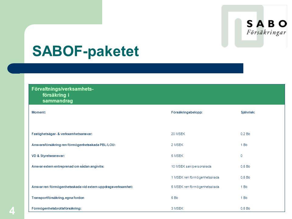 SABOF-paketet Förvaltnings/verksamhets-försäkring i sammandrag Moment: