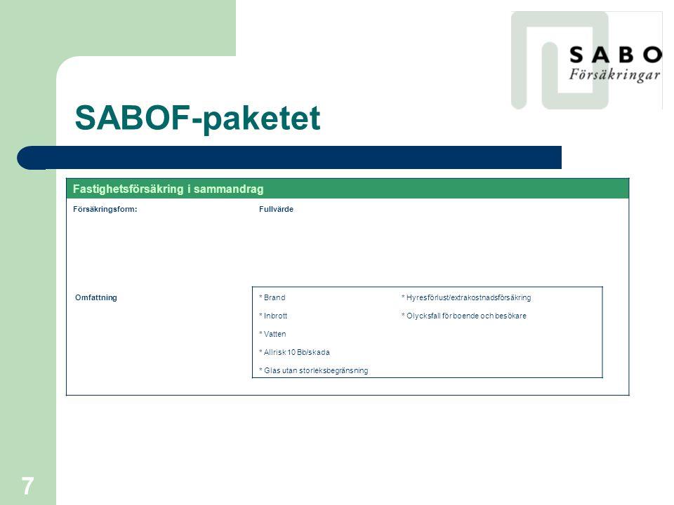 SABOF-paketet Fastighetsförsäkring i sammandrag Försäkringsform: