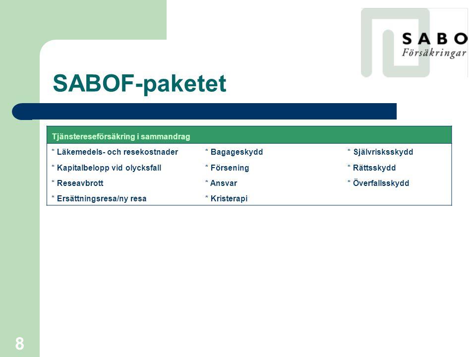 SABOF-paketet Tjänstereseförsäkring i sammandrag