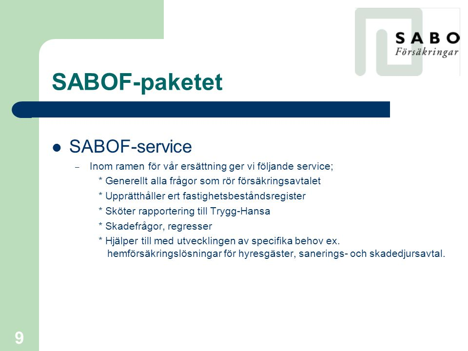 SABOF-paketet SABOF-service