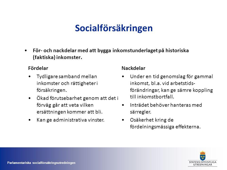 Socialförsäkringen För- och nackdelar med att bygga inkomstunderlaget på historiska (faktiska) inkomster.