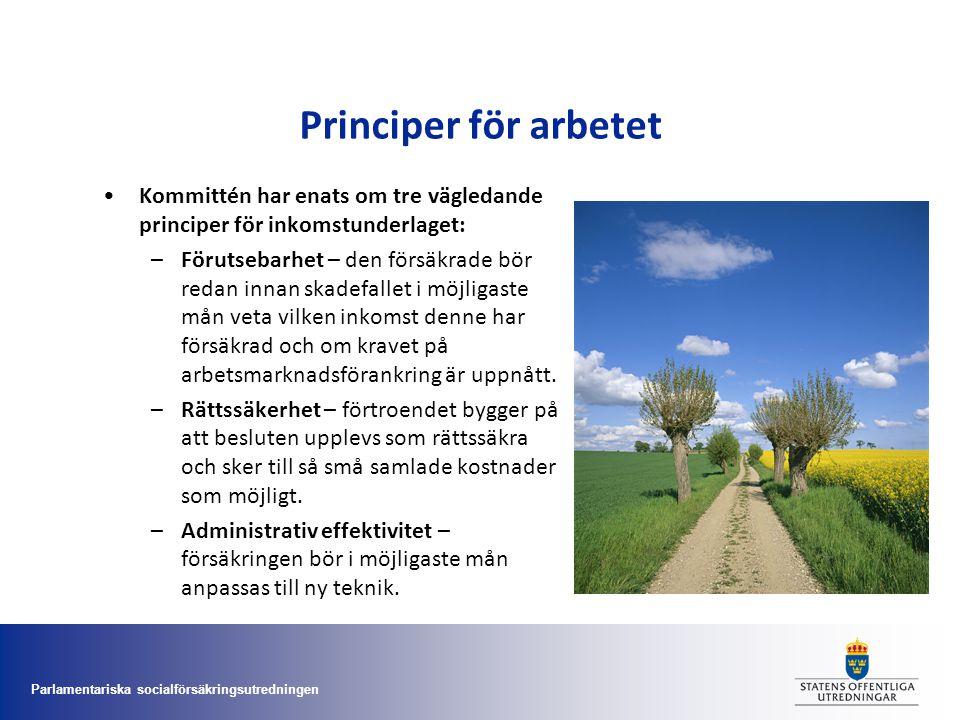 Principer för arbetet Kommittén har enats om tre vägledande principer för inkomstunderlaget: