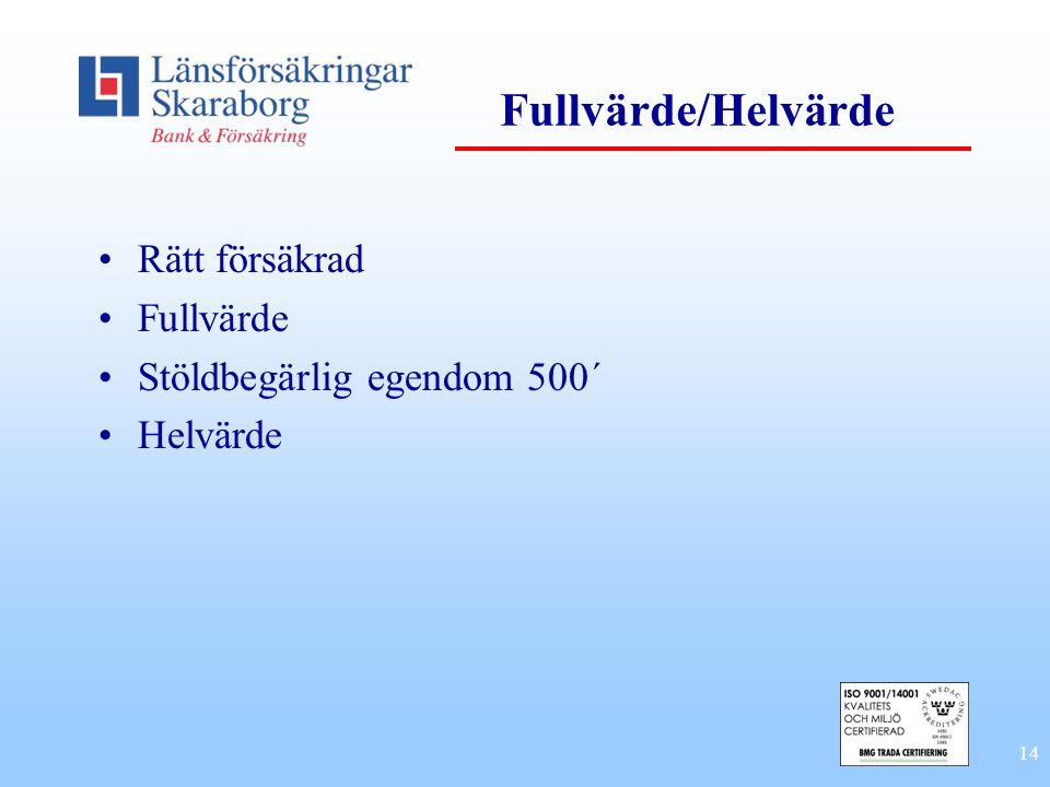 Fullvärde/Helvärde Rätt försäkrad Fullvärde Stöldbegärlig egendom 500´