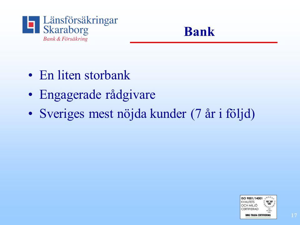 Bank En liten storbank Engagerade rådgivare Sveriges mest nöjda kunder (7 år i följd)