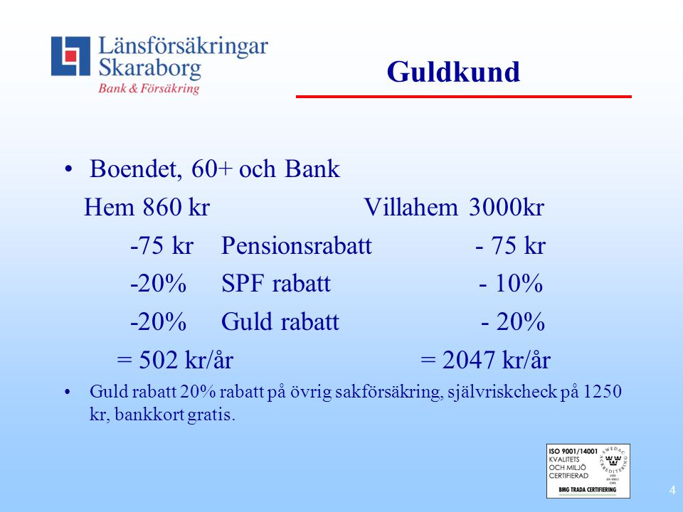 Guldkund Boendet, 60+ och Bank Hem 860 kr Villahem 3000kr