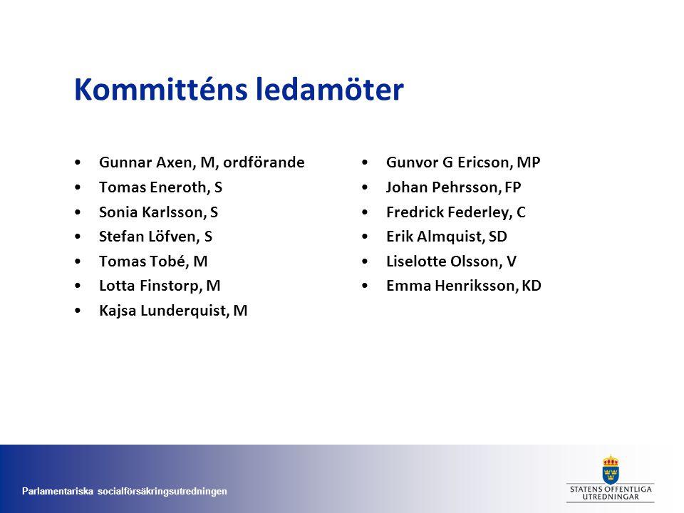 Kommitténs ledamöter Gunnar Axen, M, ordförande Tomas Eneroth, S