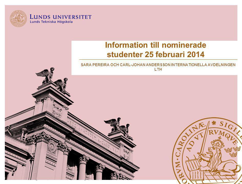 Information till nominerade studenter 25 februari 2014