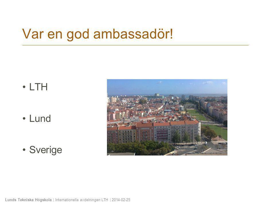 Var en god ambassadör! LTH Lund Sverige 2010-01-20
