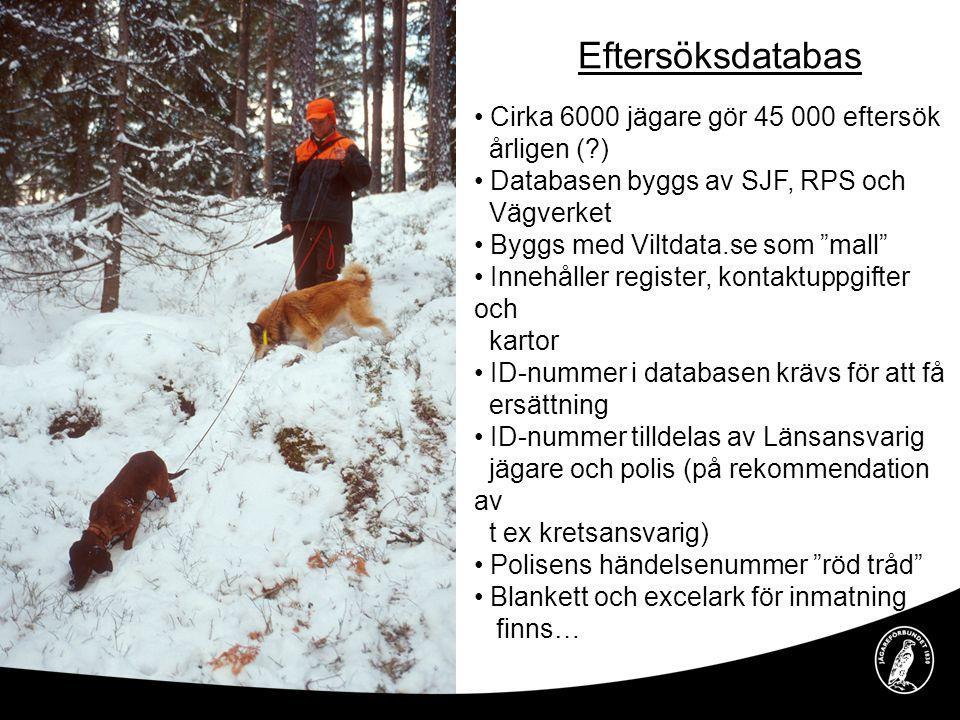 Eftersöksdatabas Cirka 6000 jägare gör 45 000 eftersök årligen ( )