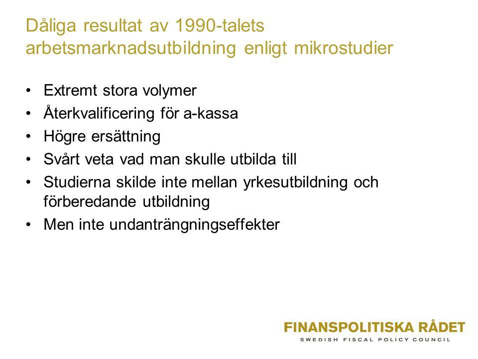 Dåliga resultat av 1990-talets arbetsmarknadsutbildning enligt mikrostudier