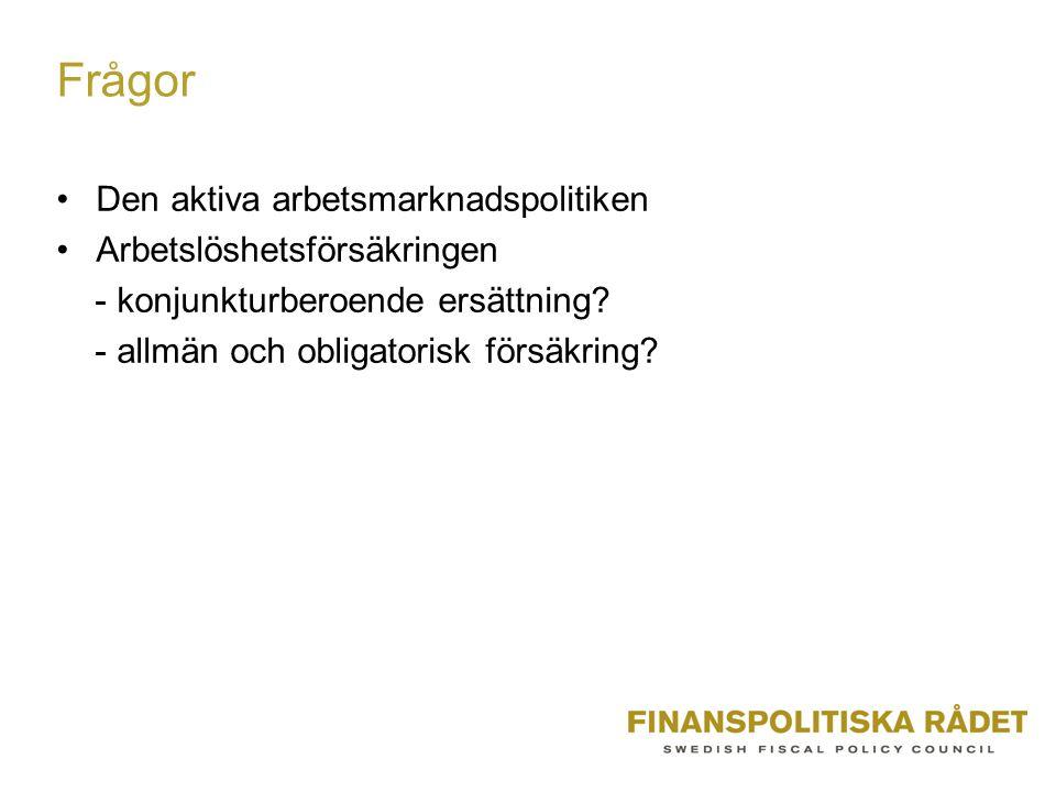Frågor Den aktiva arbetsmarknadspolitiken Arbetslöshetsförsäkringen