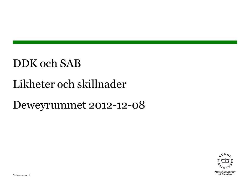 DDK och SAB Likheter och skillnader Deweyrummet 2012-12-08