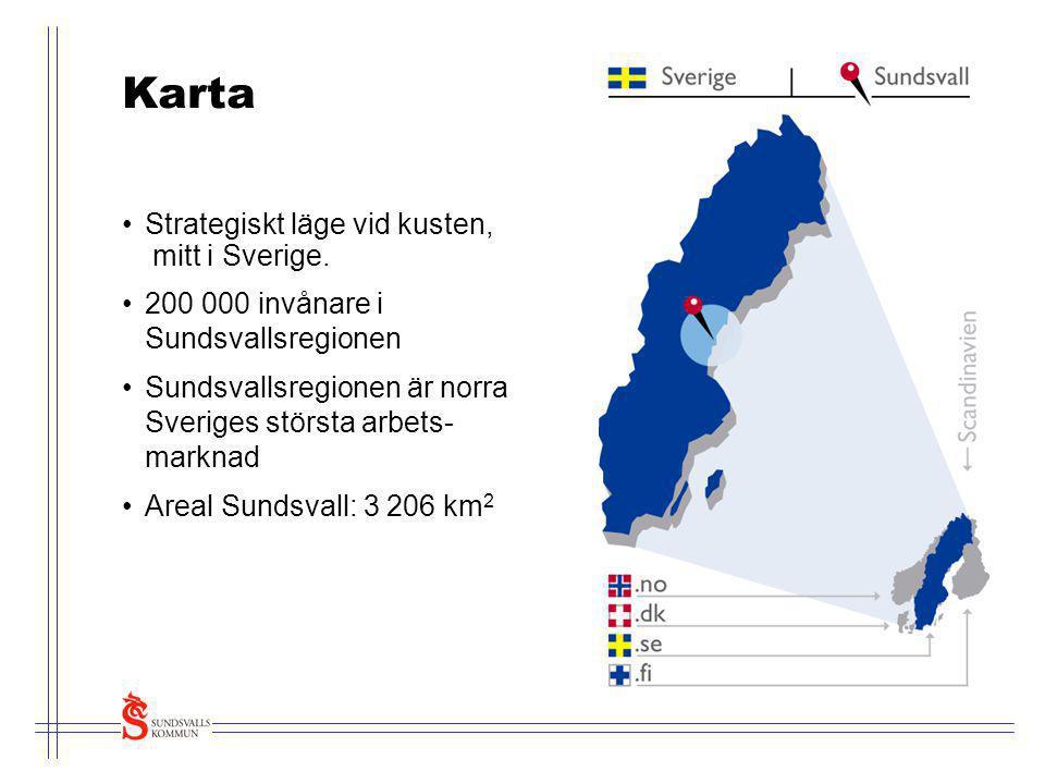 Karta Strategiskt läge vid kusten, mitt i Sverige.