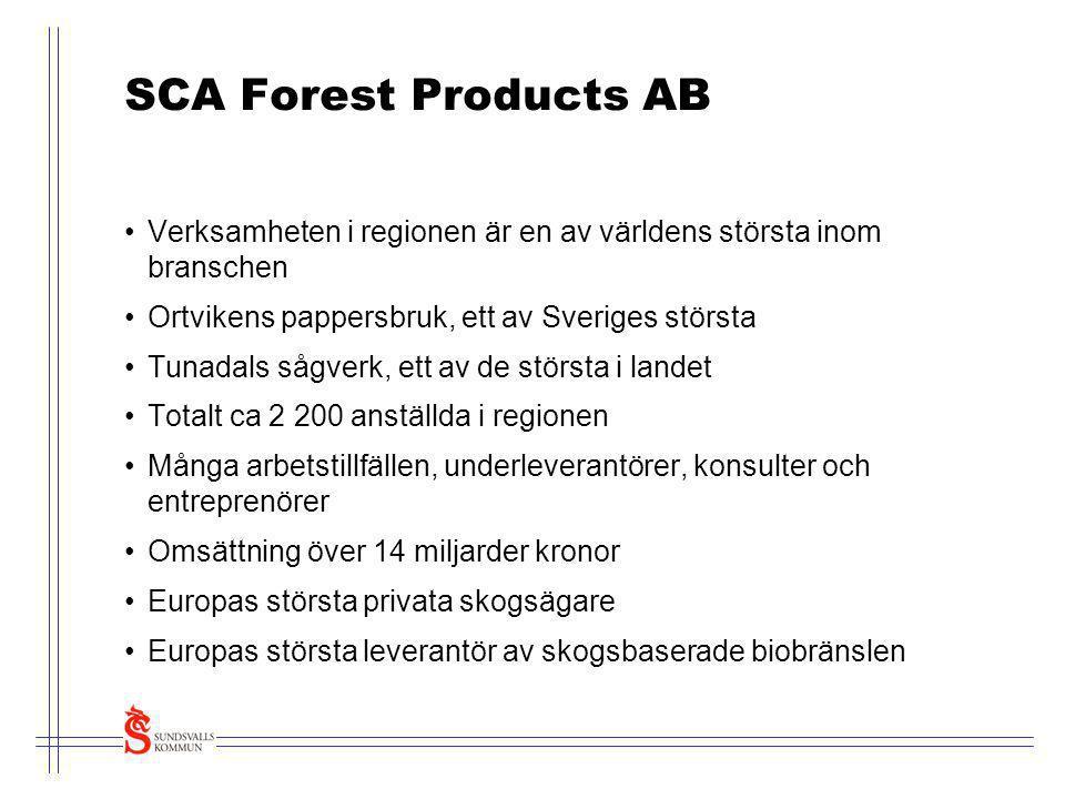 SCA Forest Products AB Verksamheten i regionen är en av världens största inom branschen. Ortvikens pappersbruk, ett av Sveriges största.