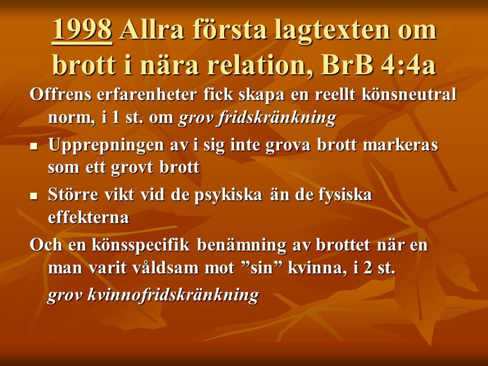 1998 Allra första lagtexten om brott i nära relation, BrB 4:4a