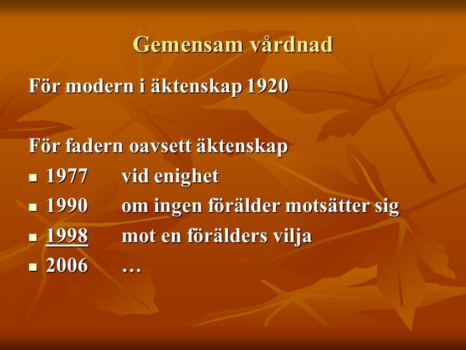 Gemensam vårdnad För modern i äktenskap 1920