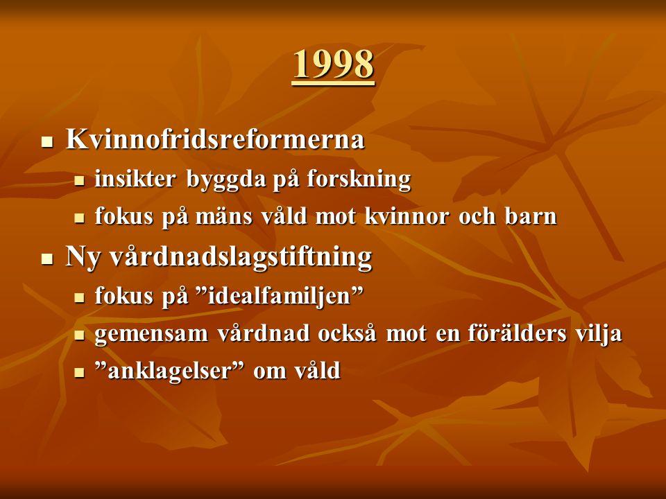 1998 Kvinnofridsreformerna Ny vårdnadslagstiftning
