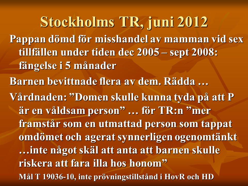 Stockholms TR, juni 2012 Pappan dömd för misshandel av mamman vid sex tillfällen under tiden dec 2005 – sept 2008: fängelse i 5 månader.