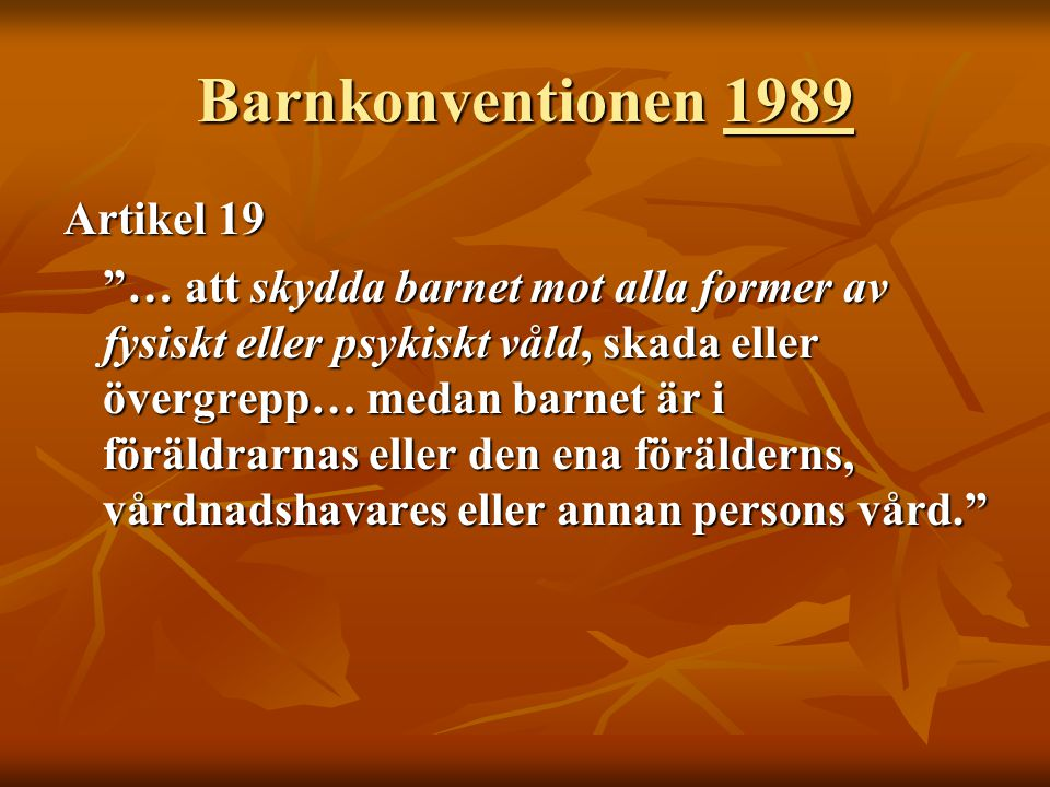 Barnkonventionen 1989 Artikel 19