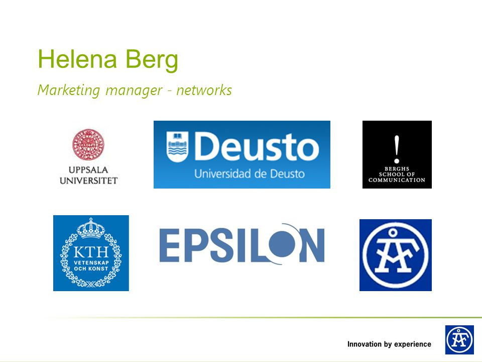 Helena Berg Marketing manager - networks