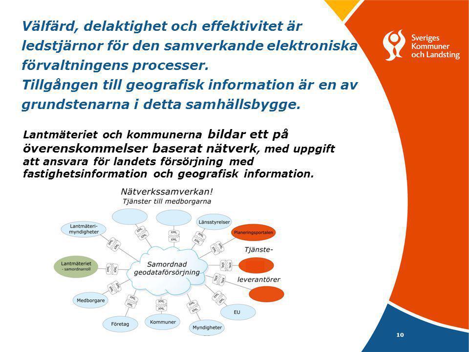 Välfärd, delaktighet och effektivitet är ledstjärnor för den samverkande elektroniska förvaltningens processer. Tillgången till geografisk information är en av grundstenarna i detta samhällsbygge.