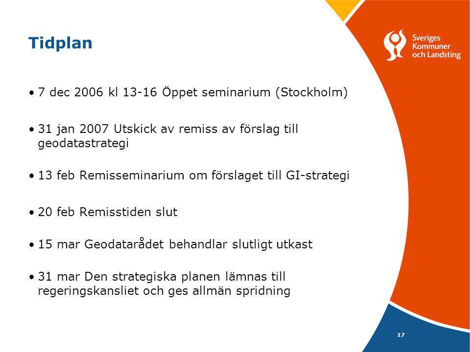 Tidplan 7 dec 2006 kl 13-16 Öppet seminarium (Stockholm)