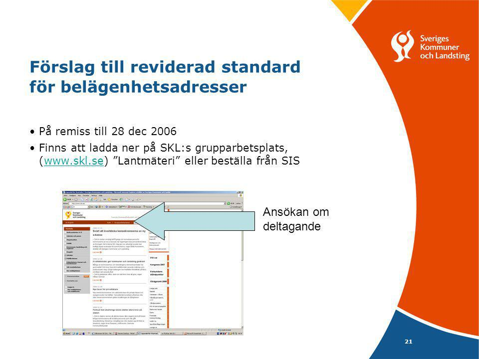 Förslag till reviderad standard för belägenhetsadresser